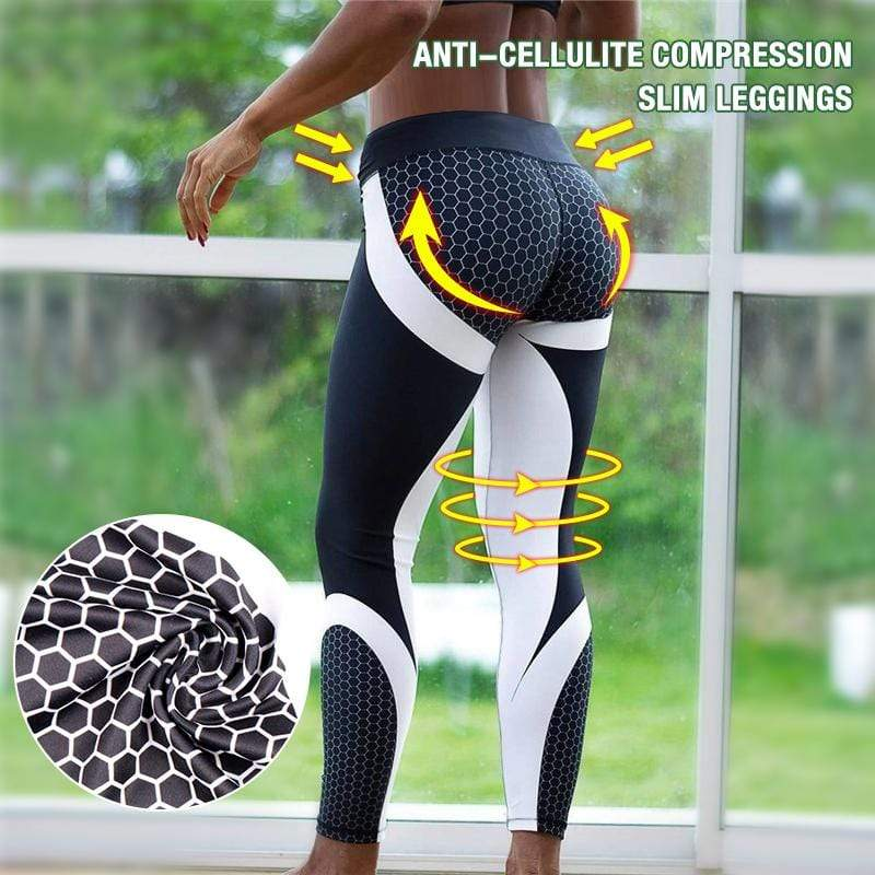 yoyoyoyoga Bottoms Black / S slimming geometric yoga print leggings