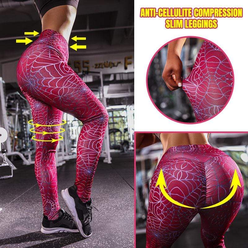 yoyoyoyoga Bottoms S / Red Hip-lifting Anti-Cellulite Compression Slim Leggings