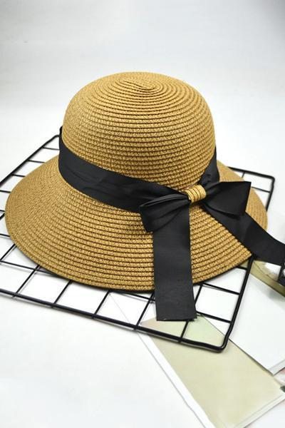 yoyoyoyoga.com Accessories Khaki / One Size Retro Fisherman Bow-Knot Straw Hat Visor