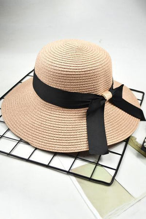 yoyoyoyoga.com Accessories Pink / One Size Retro Fisherman Bow-Knot Straw Hat Visor