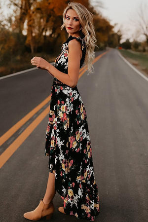 yoyoyoyoga.com Bohemian Dress Black / S Deep V-Neck Floral Dress