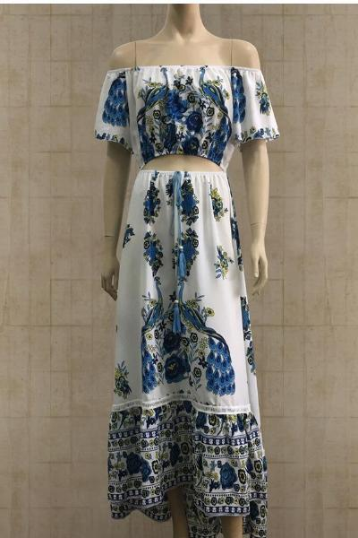 yoyoyoyoga.com Bohemian Dress Blue / S Bohemian Floral Dress