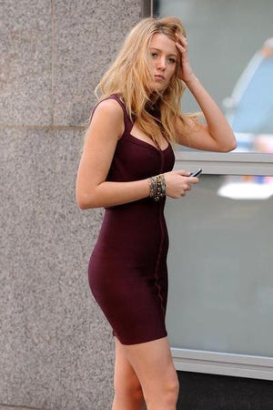 yoyoyoyoga.com Bohemian Dress Burgundy / S Off-Shoulder Halter Sleeveless Sexy Dress
