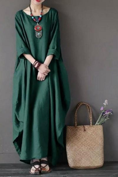 yoyoyoyoga.com Bohemian Dress Green / S Solid Color Large Size Beach Dress