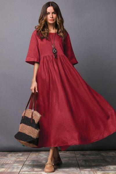 yoyoyoyoga.com Bohemian Dress Red / M Elegant Slim Plain Dress