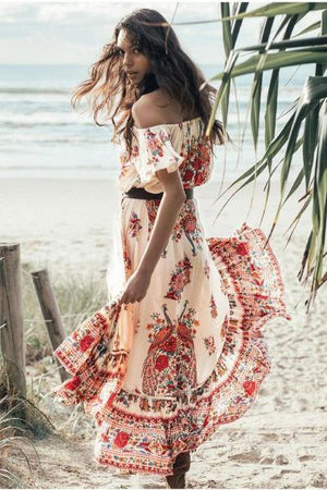 yoyoyoyoga.com Bohemian Dress Red / S Bohemian Floral Dress