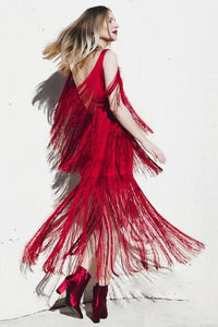 yoyoyoyoga.com Bohemian Dress Red / S Tassel Sling Dress