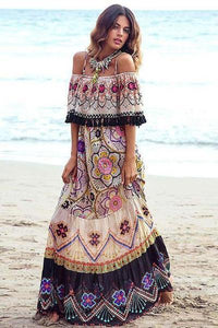 yoyoyoyoga.com Bohemian Dress Same as photo / S Tassel Bohemian Dress