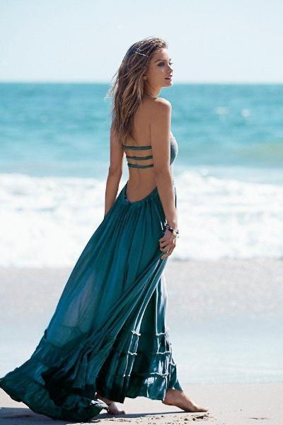 yoyoyoyoga.com Bohemian Dress White / S Fashion Sexy Off-Back Lace-up Beach Maxi Dress