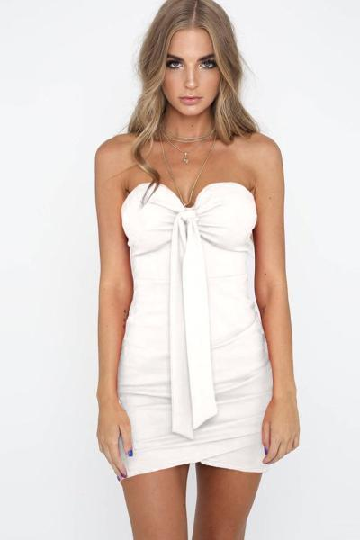 yoyoyoyoga.com Bohemian Dress White / S Tube Top Bow Dress