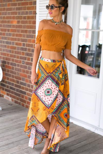 yoyoyoyoga.com Bohemian Dress Yellow / S Bohemian Print Irregular Half-Length Dress