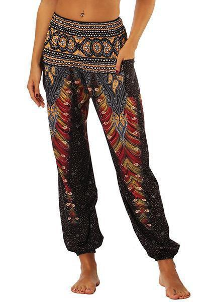 yoyoyoyoga.com Bohemian Pants Black / One Size High Waisted Pocket Loose Pants