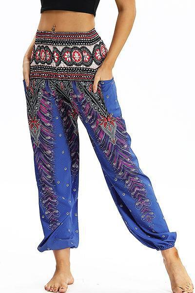 yoyoyoyoga.com Bohemian Pants Blue / One Size High Waisted Pocket Loose Pants