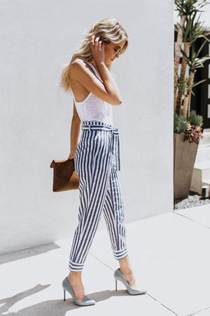 yoyoyoyoga.com Bohemian Pants Blue / S Tie Waist Belted Striped Skinny Casual Pants