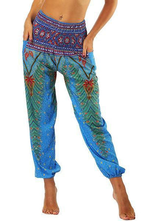 yoyoyoyoga.com Bohemian Pants Light Blue / One Size High Waisted Pocket Loose Pants