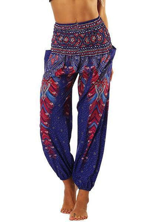yoyoyoyoga.com Bohemian Pants Purple / One Size High Waisted Pocket Loose Pants
