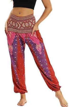 yoyoyoyoga.com Bohemian Pants Red / One Size High Waisted Pocket Loose Pants