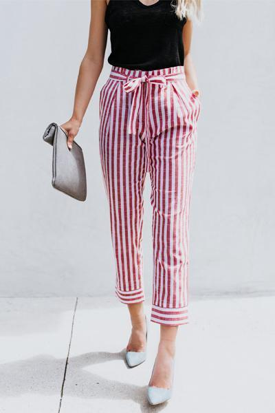 yoyoyoyoga.com Bohemian Pants Red / S Tie Waist Belted Striped Skinny Casual Pants