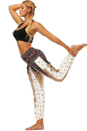 yoyoyoyoga.com Bohemian Pants White / One Size High Waisted Pocket Loose Pants