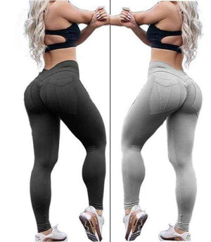 yoyoyoyoga.com Bottom Black+Grey [$12 per pcs] / S Hip Lifting Curve Accentuating Scrunch Leggings