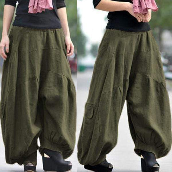 yoyoyoyoga.com Bottoms Army Green / XS Ramie Cotton Retro Baggy Lantern Harem Pants