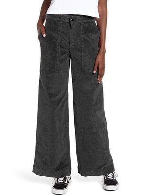 yoyoyoyoga.com Bottoms Black-gray / S Women's Leisure Big Pockets Corduroy Straight Wide Leg Jeans