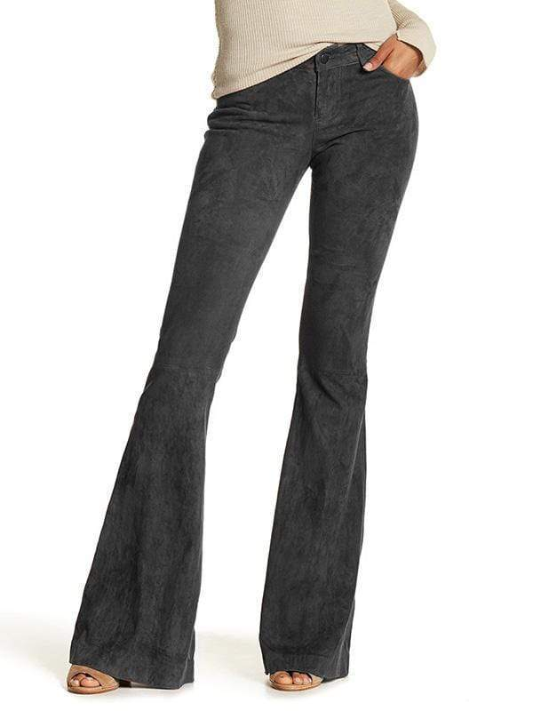 yoyoyoyoga.com Bottoms Black-gray / S Women's Solid Color High Waist Corduroy Bell-Bottom Pants