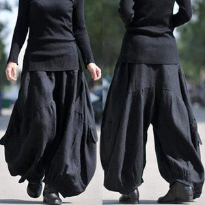 yoyoyoyoga.com Bottoms Black / XS Ramie Cotton Retro Baggy Lantern Harem Pants