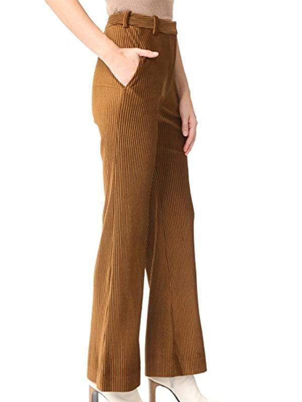 yoyoyoyoga.com Bottoms Brown / S Women's Pure Color Slim Casual Pants