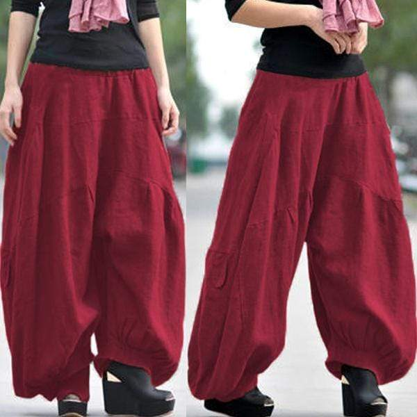 yoyoyoyoga.com Bottoms Burgundy / XS Ramie Cotton Retro Baggy Lantern Harem Pants