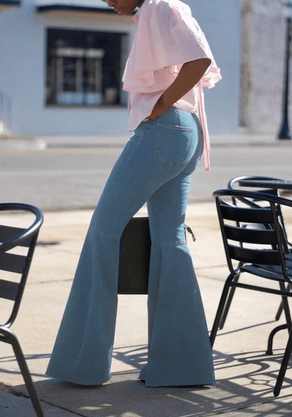 yoyoyoyoga.com Bottoms Buttons High Waisted Going out Flare Bell Bottom Long Jeans