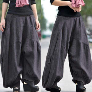 Ramie Cotton Retro Baggy Lantern Harem Pants