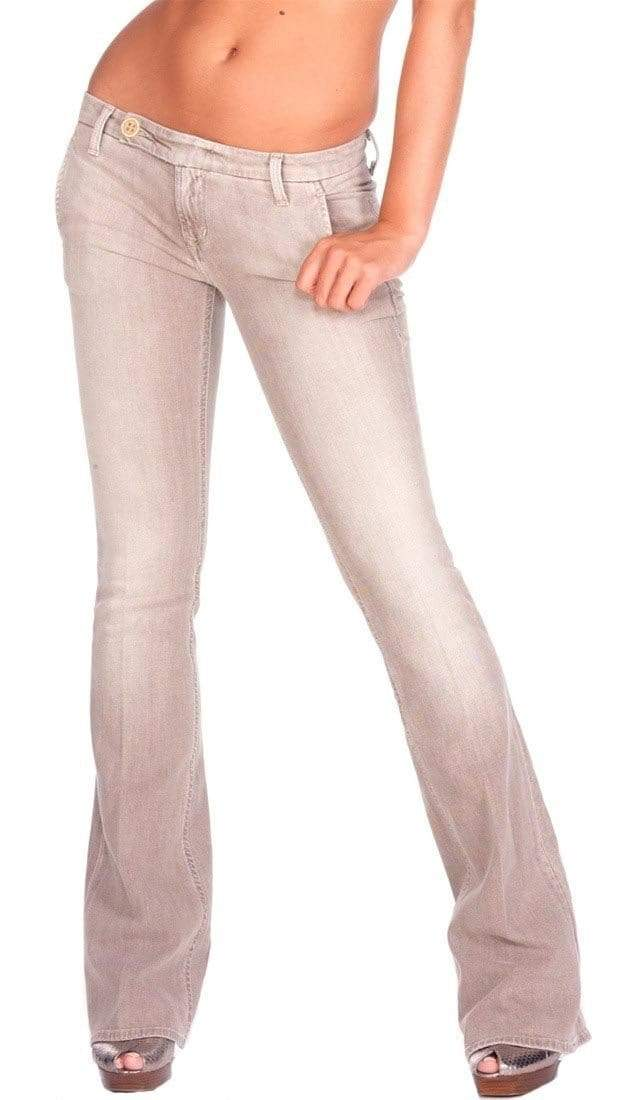 yoyoyoyoga.com Bottoms Khaki / S Women's Light Flared Jeans