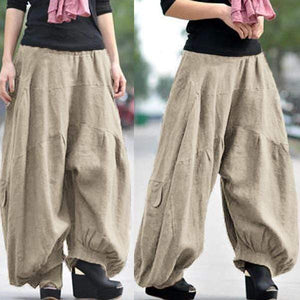 yoyoyoyoga.com Bottoms Khaki / XS Ramie Cotton Retro Baggy Lantern Harem Pants