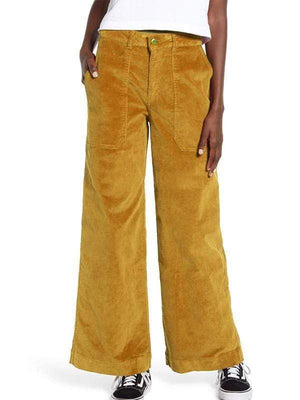 yoyoyoyoga.com Bottoms mustard / S Women's Leisure Big Pockets Corduroy Straight Wide Leg Jeans
