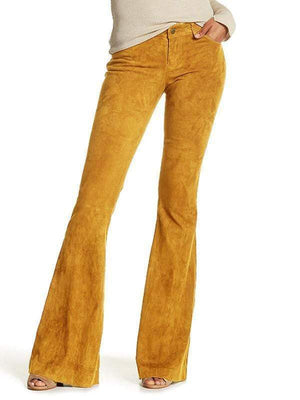 yoyoyoyoga.com Bottoms mustard / S Women's Solid Color High Waist Corduroy Bell-Bottom Pants