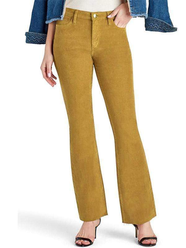 yoyoyoyoga.com Bottoms mustard / S Women's Super Elastic Solid Color Antique Corduroy Light Flare Pants