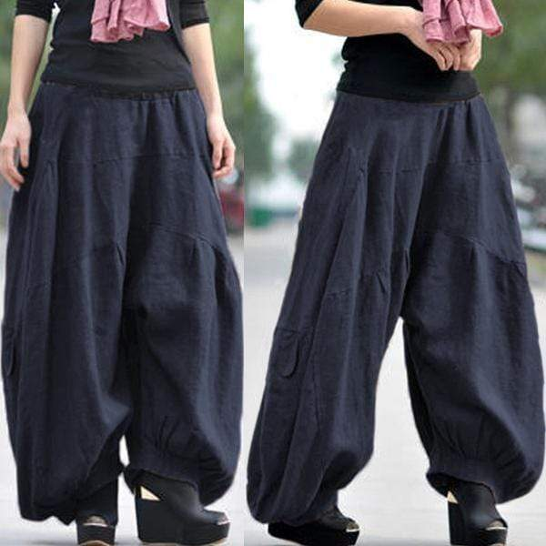 yoyoyoyoga.com Bottoms navy blue / XS Ramie Cotton Retro Baggy Lantern Harem Pants