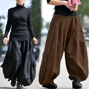 yoyoyoyoga.com Bottoms Ramie Cotton Retro Baggy Lantern Harem Pants