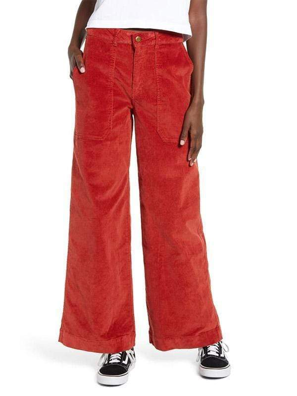 yoyoyoyoga.com Bottoms Red / S Women's Leisure Big Pockets Corduroy Straight Wide Leg Jeans