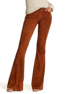yoyoyoyoga.com Bottoms Tobacco Distressed / S Women's Solid Color High Waist Corduroy Bell-Bottom Pants