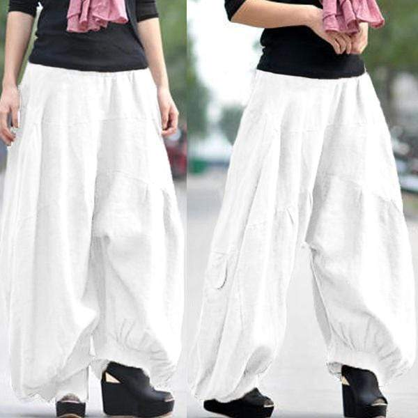 yoyoyoyoga.com Bottoms White / XS Ramie Cotton Retro Baggy Lantern Harem Pants