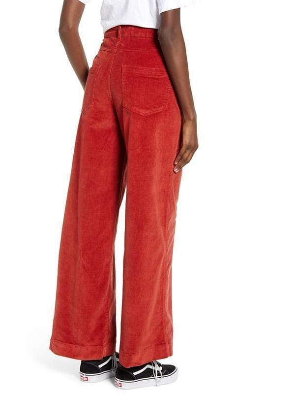 yoyoyoyoga.com Bottoms Women's Leisure Big Pockets Corduroy Straight Wide Leg Jeans