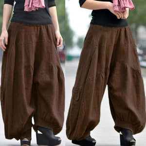 yoyoyoyoga.com Bottoms Yellow brown / XS Ramie Cotton Retro Baggy Lantern Harem Pants