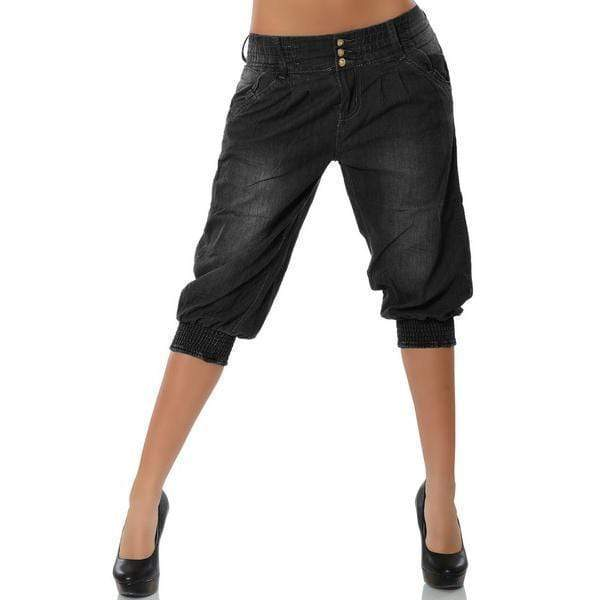 yoyoyoyoga.com Capris&Shorts Black / S Washed Denim Elastic Waist Capri Pants