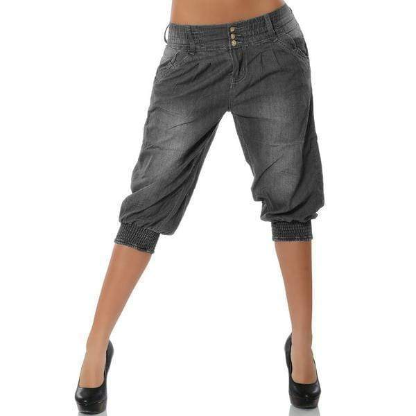 yoyoyoyoga.com Capris&Shorts Grey / S Washed Denim Elastic Waist Capri Pants