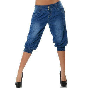 yoyoyoyoga.com Capris&Shorts navy blue / S Washed Denim Elastic Waist Capri Pants