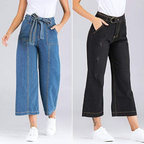 yoyoyoyoga.com Denim Black+Blue($24.99 Per Pcs) / XS Casual Wide Leg Loose Denim Belt Pants