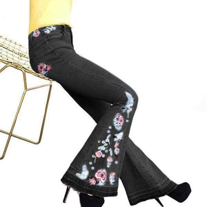 yoyoyoyoga.com Denim Black / XS 70s Flowers Embroidered Bell Bottoms