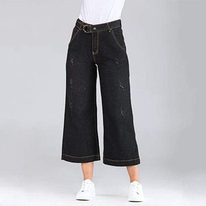 yoyoyoyoga.com Denim Black / XS Casual Wide Leg Loose Denim Belt Pants